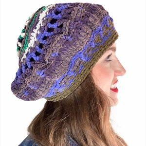 4/$25 Vtg. Crocheted Hat Beret Purple Green Knit